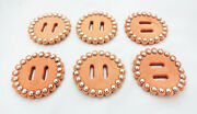 Lot Of 6 Slotted Spotted Leather Rosettes Horse Tack Conchos Saddles Western New