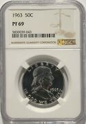 1963 P Ngc Pf69 Silver Proof Ben Franklin Half Dollar 50c 90 Silver White Coins
