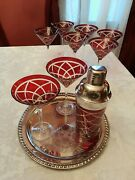 Bohemia Ruby Hand Blown Cut To Clear Ruby Red Martini Glasses Shaker 9 Pc Set