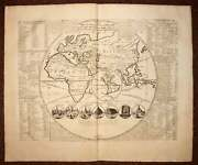 Globe Terrestrial Map Old Geographic World Map Engraving Of Chatelain 1708