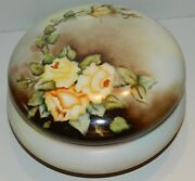 Paroutard Freres Limoges Large Round Footed Dresser Box - Hp Yellow Roses