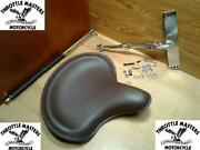 Brown Solo Seat With Chrome Kit For Harley Big Twin 4 Speed 1936-1981