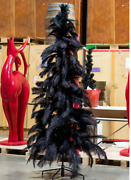 Black Christmas Tree Real Ostrich Feather Branches 4ft Tall Stand Included