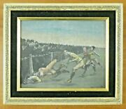 Very Rare 1890 Frederic Remington Football Etching On Milk Glass Framed 11x13
