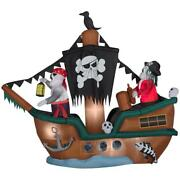 Halloween Gemmy 10 Ft Animated Lighted Skeleton Pirate Ship Inflatable Nib