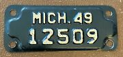 Michigan 1949 Motorcycle License Plate High Quality 12509