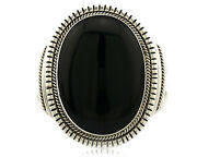 Navajo Bracelet .925 Solid Silver Cuff Natural Onyx Artist Handmade C.80and039s