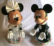 Nib 9 Minnie Mickey Mouse Bride And Groom Bobble Head Figurines Magnetic Nose