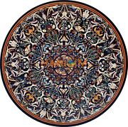 48and039and039 Black Marble Dining Round Table Top Pietradura Fine Mosaic Inlay Decor B284