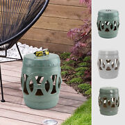14x18 Small Ceramic Outdoor Patio Knotted Rings Garden Stool End Table