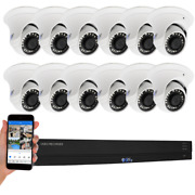 16ch H.265+ Dvr 12 4k Waterproof Analog Dome Security Camera System 8tb