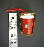 Starbucks Ceramic Cup Holiday Winking Snowman Christmas Ornament 2012 New