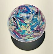 """Handmade Dichroic Glass Paperweight By Janet Wolery - Pastel Sparkles - 3 1/2"""""""