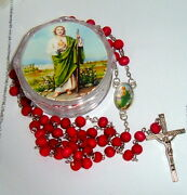 Saint St Jude Box W/ Wood St Jude Rosary N Catholic Patron Of Impossible Causes