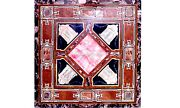 Marble Console Top Side Table Inlaid Interior Mosaic Arts Stone Rare Decor H5633