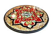 Carnelian Marquetry Marble Dining Table Inlaid Gemstone Traditional Decor H3807