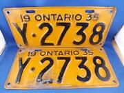Ontario License Plate 1935 Lot Set Y 2738 Classic Car Show Collector Old Car