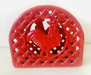 Farmhouse Decor Red Rooster Napkin Holder Painted Cast Iron Picnic Pool Patio