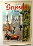 1951 Original Brussels Pan American World Airways Travel Poster Lithograph