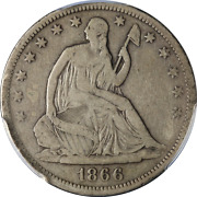 1866-s Seated Half Dollar No Motto Pcgs F Details Decent Eye Appeal Nice Strike