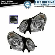 Hid Xenon Headlights Headlamps Left And Right Pair Set For Mercedes Benz E-class