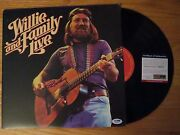 Willie Nelson Signed Willie And Family Live 1978 Record / Album Psa / Dna Farm Aid