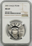 2001 Statue Of Liberty One-ounce Platinum American Eagle 100 Ms 69 Ngc 1 Oz