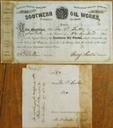 Memphis Tn 1872 Oil Stock Certificate And039southern Oil Worksand039 - Tennessee Tenn