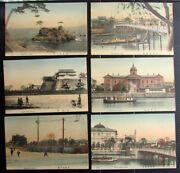 Lot Of 06 Vintage Picture Post Cards Of Osaka Japan Hand Colored Rare