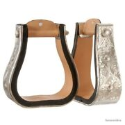Youth Western Silver Show Stirrups - 3 Inch Bell Stirrups - Light Oil Leather
