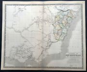 1845 Johnston Large Antique Map Colony Of New South Wales And Victoria, Australia