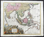 1730 Seutter Large Antique Map Of East Asia Se Asia China East Indies Australia