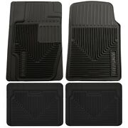 Set-h2151111-4 Husky Liners Floor Mats Set Of 4 Front New Black For Chevy Vw 318