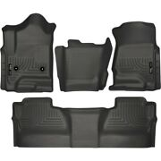 Set-h2198231-4 Husky Liners Set Of 4 Floor Mats Front New Black For Chevy Gmc