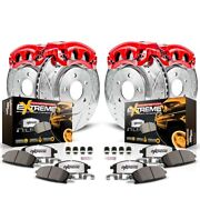 Kc2023a-36 Powerstop 4-wheel Set Brake Disc And Caliper Kits Front And Rear For H2