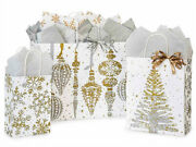 Mercury Glass Design Print Christmas Gift Bag Only Choose Size And Pack Amount