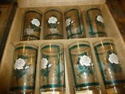 Set Of 8 Libbey Party Time Glasses 12 ½ Oz Tumblers 306 Clear Glass Rose