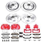 Kc2164a-36 Powerstop 4-wheel Set Brake Disc And Caliper Kits Front And Rear