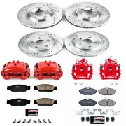 Kc1355 Powerstop Brake Disc And Caliper Kits 4-wheel Set Front And Rear New