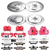 Kc1934-36 Powerstop 4-wheel Set Brake Disc And Caliper Kits Front And Rear