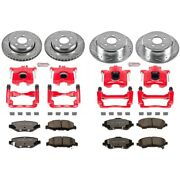 Kc2832a-36 Powerstop 4-wheel Set Brake Disc And Caliper Kits Front And Rear
