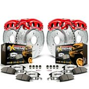 Kc1881-36 Powerstop Brake Disc And Caliper Kits 4-wheel Set Front And Rear