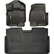 Set-h2118361 Husky Liners Floor Mats Front New Black For F150 Truck Ford F-150