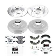 K15209dk-36 Powerstop 4-wheel Set Brake Disc And Drum Kits Front And Rear New