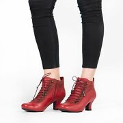 Hush Puppies Vivianna Ladies Leather Suede Victorian Vintage Style Boots Red