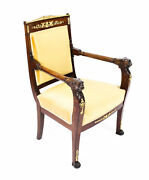 Antique French Empire Mahogany And Ormolu Mounted Armchair Early 19th Century