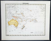 1854 Handtke And Flemming Antique Map Of Australia New Zealand Pacific 40973