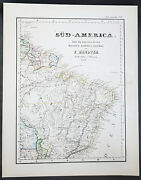 1854 Handtke And Flemming Large Antique Map Of Brazil, South America 41151