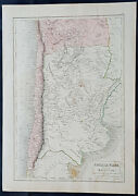 1840 Sydney Hall Large Antique Map Of Chile, Argentina, Bolivia, South America
