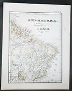 1854 Handtke And Flemming Large Antique Map Of Brazil, South America 41152